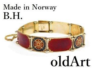 北欧ノルウェー製1940-50年代B.H.七宝焼エナメル装飾シルバー銀製ブレスレット【M-12957】