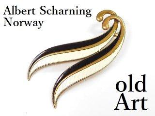 北欧ノルウェー製1950年代Albert Scharning七宝焼エナメル装飾シルバー銀製ブローチ【M-12968】