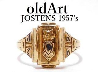1957年代USAヴィンテージJOSTENSジャスティン社製10金無垢カレッジリング指輪15.5号10Kゴールド【M-12135】