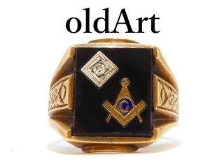 ヴィンテージ1950年代フリーメイソン10金無垢オニキスダイヤモンドメンズリング指輪15.5号10Kゴールド【M-12986】