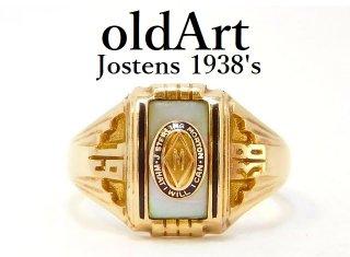 1938年代USAヴィンテージJOSTENSジャスティン社製10金無垢カレッジリング指輪12.5号10Kゴールド【M-12992】