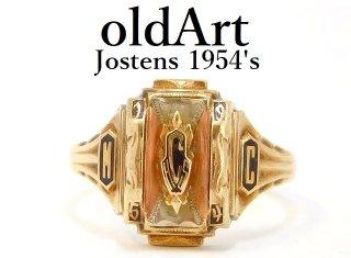 1954年代USAヴィンテージJOSTENSジャスティン社製10金無垢カレッジリング指輪16号10Kゴールド【M-12993】