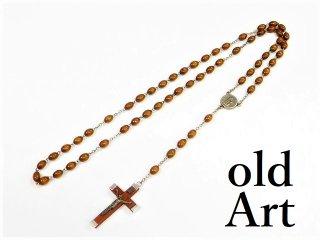 イタリア製ヴィンテージ聖母マリアキリスト十字架クロスメダイロザリオ木製【M-12975】