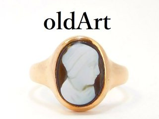 英国イギリス1914年製造アンティークカメオ彫刻9金無垢レディースリング指輪13号9CTゴールド【M-12988】