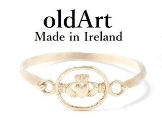 ヴィンテージアイルランド製伝統的Claddaghクラダリングシルバー製ブレスレットバングル【M-12999】