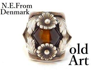 北欧デンマーク製N.E.From1950-60年代ヴィンテージタイガーアイシルバー銀製リング指輪12号【M-13001】