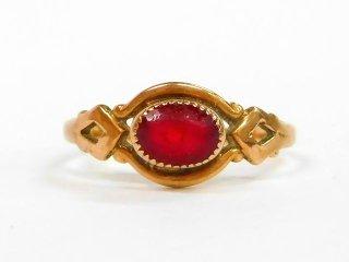 アンティーク1920-30年代OSTBY&BARTON社製ガーネット彫刻10金無垢レディースピンキーリング指輪4号10Kゴールド【M-12966】
