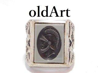 ヴィンテージローマ神話マルス騎士インタリオ彫刻SARAH COV.シルバー製メンズリング指輪16号【M-13011】