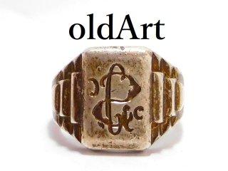 ヴィンテージ彫刻シグネットリング重厚STERLINGシルバー製指輪14号【M-13022】