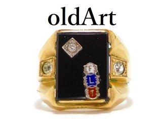 ビンテージ1960年代オッドフェローズFLTオニキス金張りメンズリング指輪20号【M-13013】