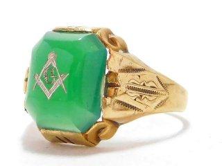 アンティーク1930年代OSTBY&BARTON社製フリーメイソン10金無垢アールデコ緑石リング指輪18号10Kゴールド【M-13015】