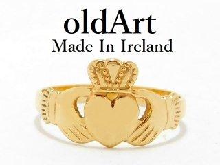 アイルランド製RIL社伝統的な指輪Claddagh Ringクラダリング10金無垢10号ホールマーク10CTゴールド刻印【M-13061】