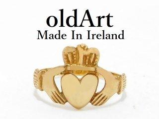 アイルランド製TJH工房伝統的な指輪Claddagh Ringクラダリング9金無垢9.5号ホールマーク9CTゴールド刻印【M-13063】