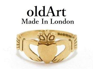 英国イギリスロンドン製アイルランド伝統的な指輪クラダリング9金無垢9CTゴールド11号【M-13064】
