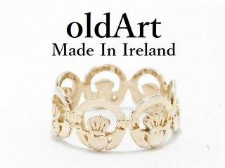 アイルランド製伝統的な指輪Claddagh Ringクラダリング透かし細工スターリングシルバー9号【M-13067】