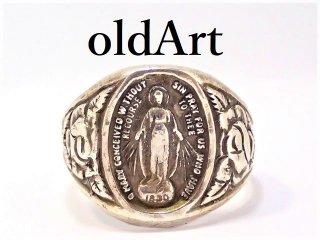 ヴィンテージ聖母マリア薔薇キリストカトリックシルバー製アジャスター式メンズリング指輪16号【M-13097】