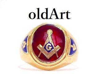 ビンテージ1950年代フリーメイソン10金無垢ルビーオーバル型メンズリング指輪24号10Kゴールド【M-13099】