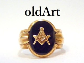 ヴィンテージ1960年代フリーメイソン10金無垢オニキスメンズリング指輪22号10Kゴールド【M-13125】