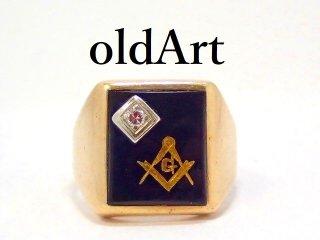 ヴィンテージ1964年代フリーメイソン10金無垢オニキスダイヤモンドメンズリング指輪19.5号10Kゴールド【M-13126】