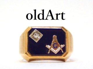 ヴィンテージ1970-80年代フリーメイソン10金無垢オニキスダイヤモンドメンズリング指輪23.5号10Kゴールド【M-13127】