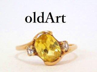 USA製アンティーク1910-30年代アールデコ10金無垢レディースリング指輪10.5号10Kゴールド【M-13178】