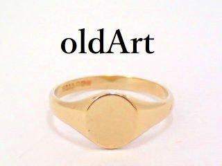 英国イギリス1970-80年製造ヴィンテージ彫刻シグネットリング9CTゴールド/9金無垢6.5号指輪【M-13180】