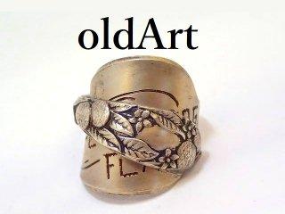 アンティークシグネット彫刻シルバー銀製スプーンリング指輪 9号【M-13184】