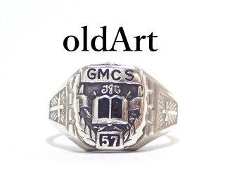 USA製1957年ヴィンテージメンズシルバー製カレッジリング指輪19号【M-13208】