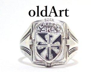 USA製1953年ヴィンテージ十字架クロスメンズシルバー製カレッジリング指輪16.5号【M-13209】