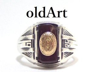 USA製1936年代ヴィンテージSTERLINGシルバー製メンズヘリテイジカレッジリング指輪14.8号【M-13210】