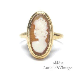 ヴィンテージカメオオーバル型10金無垢カーネリアン赤瑪瑙リング指輪13.5号10Kゴールド【M-13222】