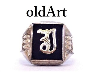 ヴィンテージ1960年代USA製イニシャルオニキスSTERLINGシルバー製メンズリング指輪21号【M-13240】