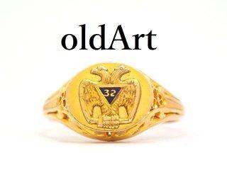 入手困難USA製1920年代アンティークフリーメイソン32階位双頭鷲10金無垢透かし細工リング指輪18号10Kゴールド【M-13250】