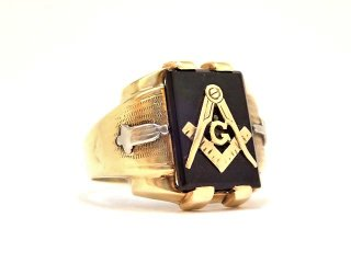 ヴィンテージ1940年代フリーメイソンOSTBY&BARTON社製10金無垢オニキス重厚メンズリング指輪25号10Kゴールド【M-13251】