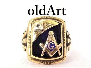 アンティーク1930年代フリーメイソン10金無垢オニキスダイヤモンドメンズリング指輪20号10Kゴールド【M-13253】