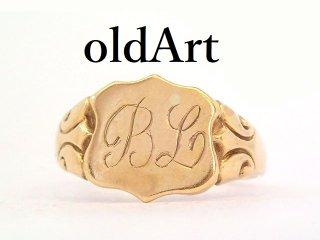 英国イギリス1994年製造ヴィンテージ彫刻メンズシグネットリング9CTゴールド/9金無垢18.5号指輪【M-13266】