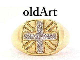 英国イギリス製ユニオンジャック国旗メンズ彫刻シグネットリング9CTゴールド/9金無垢18号指輪【M-13272】