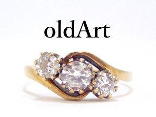 英国イギリス製1970-80年ヴィンテージ9金無垢ホールマーク刻印ジルコニアレディースリング指輪10.5号【M-13116】