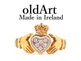 英国イギリスロンドン製1987年代アイルランド伝統的な指輪クラダリング9金無垢9CTゴールド16号【M-13119】