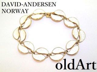北欧ノルウェー製1940-50年代David Andersen七宝焼エナメル装飾シルバー銀製リーフブレスレット【M-13273】