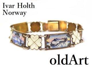 北欧ノルウェー製1940-50年代Ivar Holth七宝焼エナメル装飾シルバー830銀製ブレスレット【M-13276】