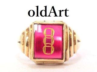 USA製ヴィンテージ1940年代FLTオッドフェローズ10金無垢リング指輪23号10Kゴールド【M-13299】