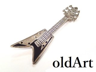 ヴィンテージMEXICOメキシコ製エレキギターシルバー925ピンブローチ【M-13330】