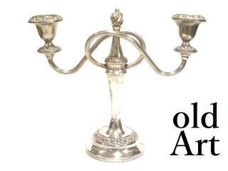 英国イギリス製アンティーク3灯燭台ろうそくキャンドルスタンドシルバープレート【M-13365】