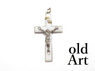 ヴィンテージイタリア製ロザリオイエスキリスト十字架クロスメダイペンダントトップヘッド聖品【M-13400】