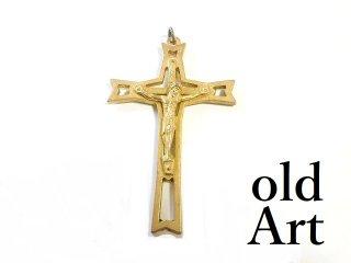 ヴィンテージイタリア製ロザリオイエスキリスト十字架クロスメダイペンダントトップヘッド聖品【M-13401】