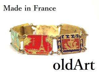 1940年代フランス製ヴィンテージエッフェル塔凱旋門紋章エナメルブレスレット【M-13415】