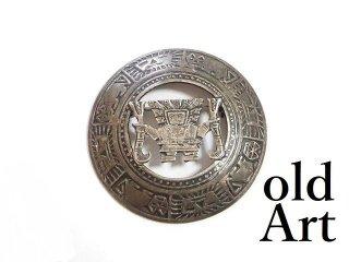 ヴィンテージペルー製インカ神話創造神ビラコチャ月の神透かし細工J.FGシルバー925製ピンブローチ【M-13419】