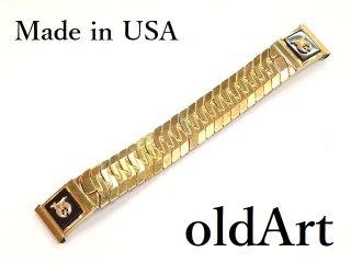 USA製ヴィンテージ1950年代フリーメイソンシュライナー金張り腕時計蛇腹伸縮ウォッチベルト/バンド16mm【M-13410】
