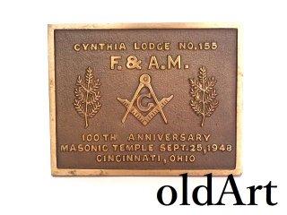 ヴィンテージ1948年代USAフリーメイソンロッジ100th真鍮製ペーパーウェイト置物オブジェ【M-13427】